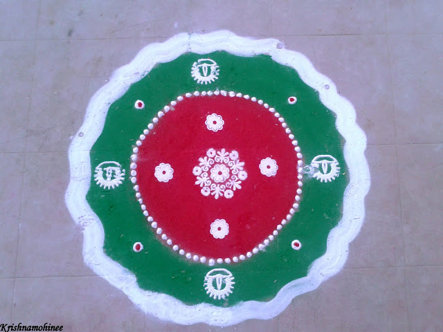 Image: Red and Green Rangoli
