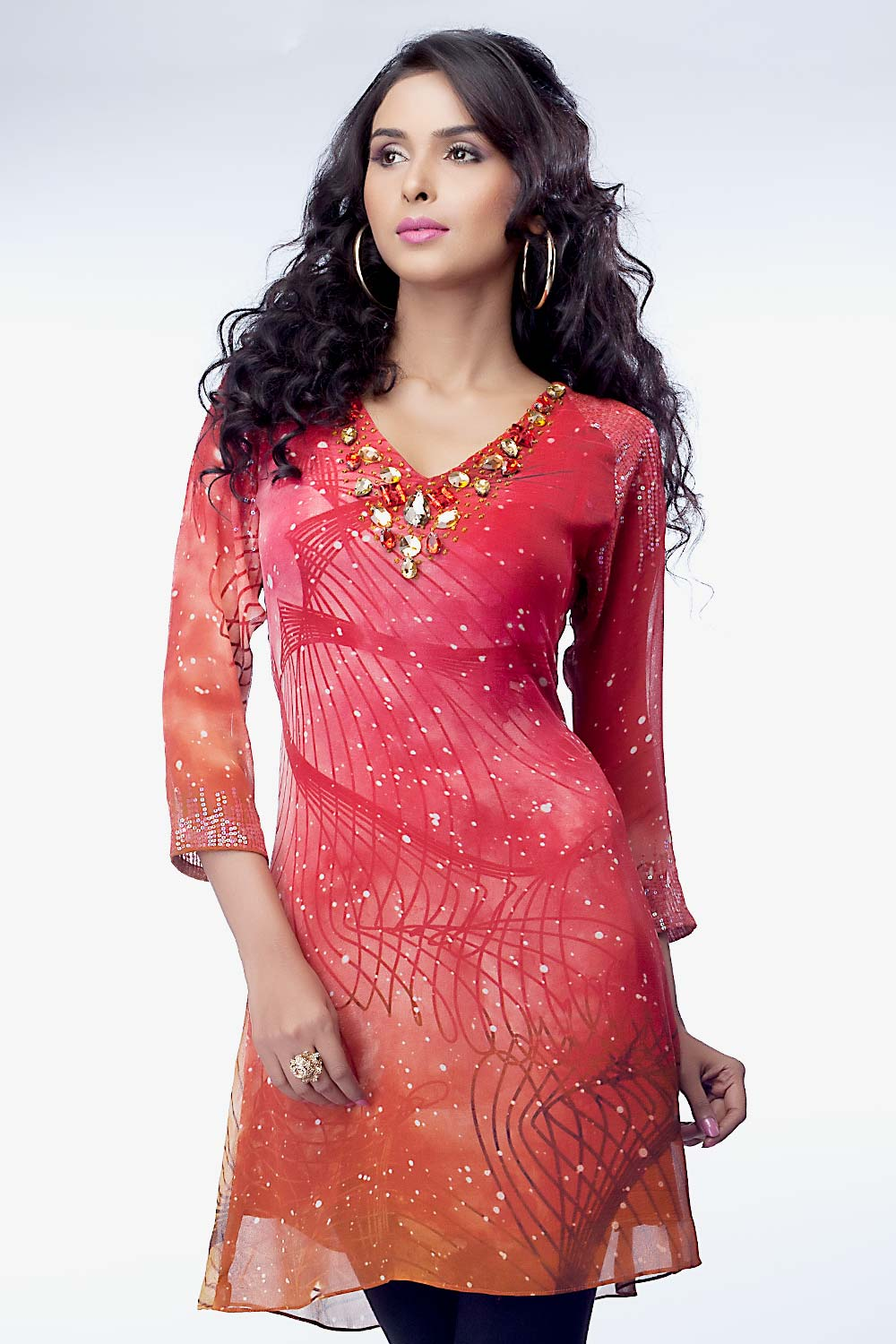 Casual indian dress embroidered indian tops