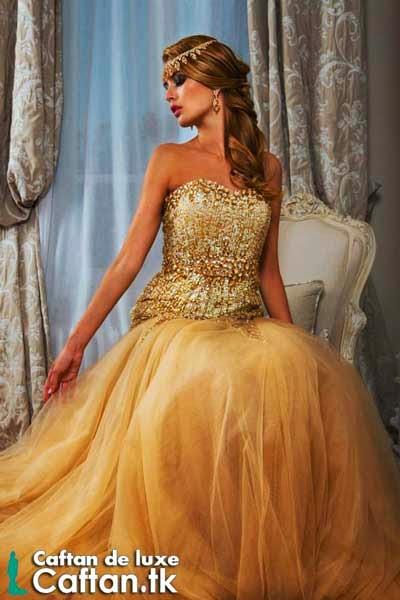 Robe de soirée carmel haute couture