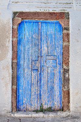 HDR image of a Blue door, Santorini - Greece