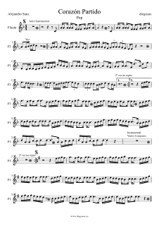 Partitura de Corazón Partido para Flauta Alejandro Sanz Corazón Partio Flute Sheet Music Corazón Partido. Para tocar con tu instrumento y la música original de la canción