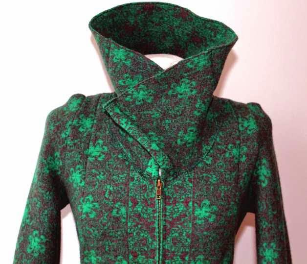 Walkmantel grün Kragen