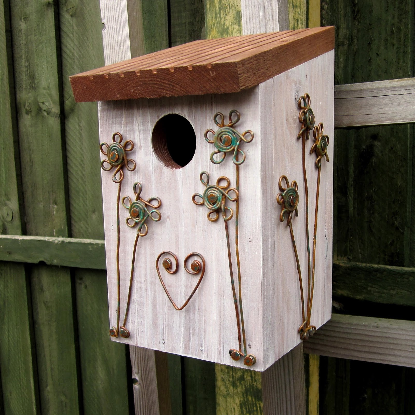 Copper Verdigris Daisies Bird Nest Box