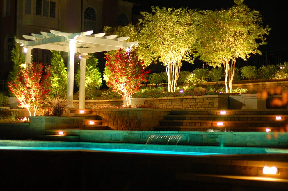 Foundation dezin decor landscape garden water lights for Outdoor pool decorating ideas