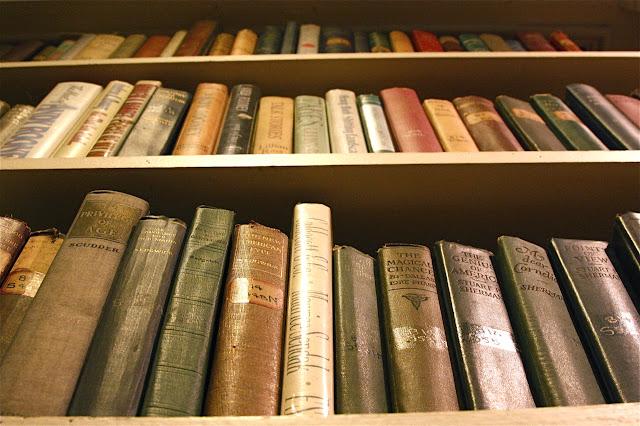 aged books on shelves in library