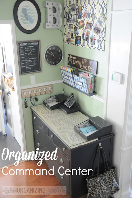 Command Center for school supplies :: OrganizingMadeFun.com
