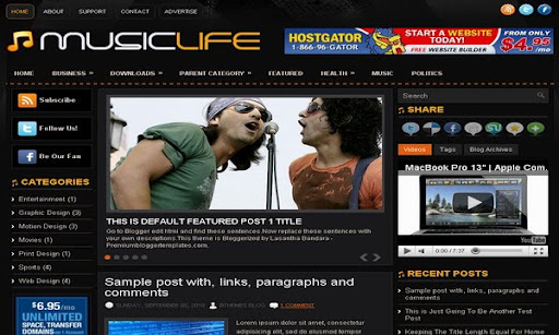 MusicLife 3 Column Blogger Template