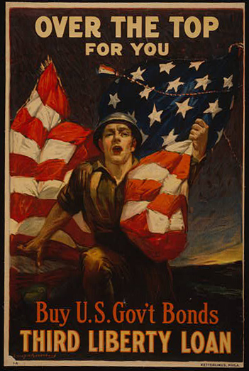 classic posters, free download, graphic design, military, propaganda, retro prints, united states, vintage, vintage posters, war, Over the Top for You, Buy U.S. Gov't Bonds, Third Liberty Loan - Vintage War Military Poster
