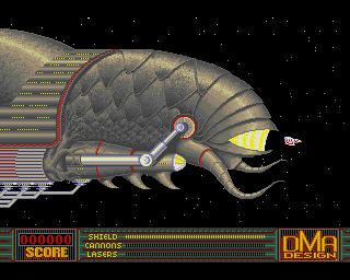 The impressive opening scene to Menace - Amiga