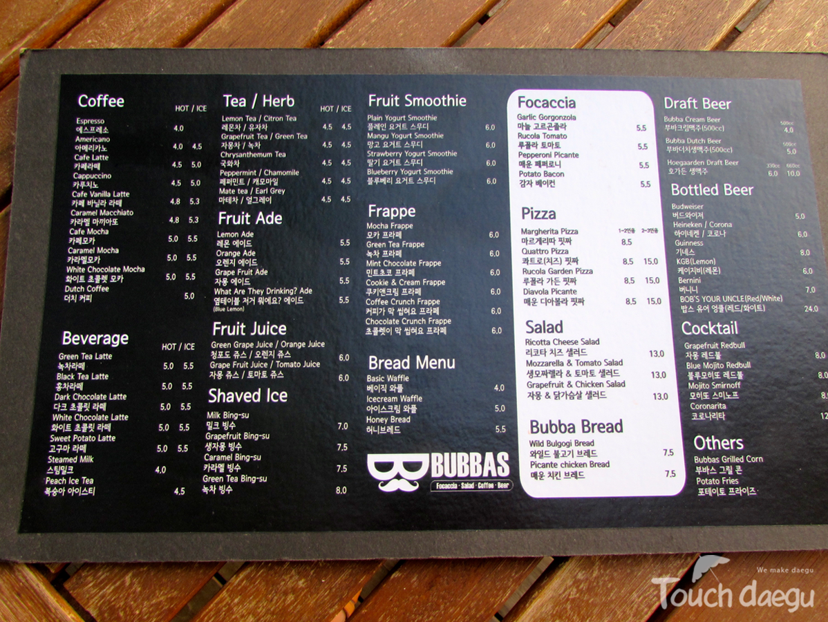 Menu, Bubbas Cafe