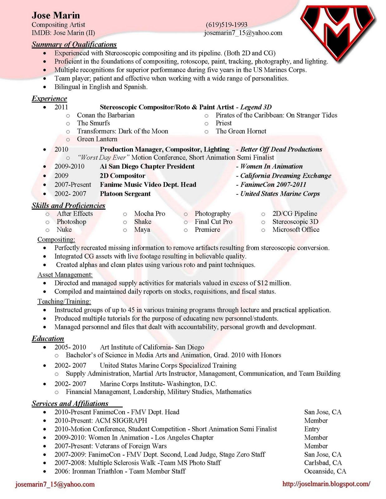 Jose Marin Compositing Resume