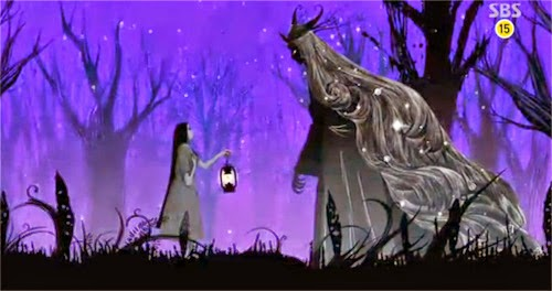 The mother and Goddess of Night meet in the forest of dead trees against a purple background.