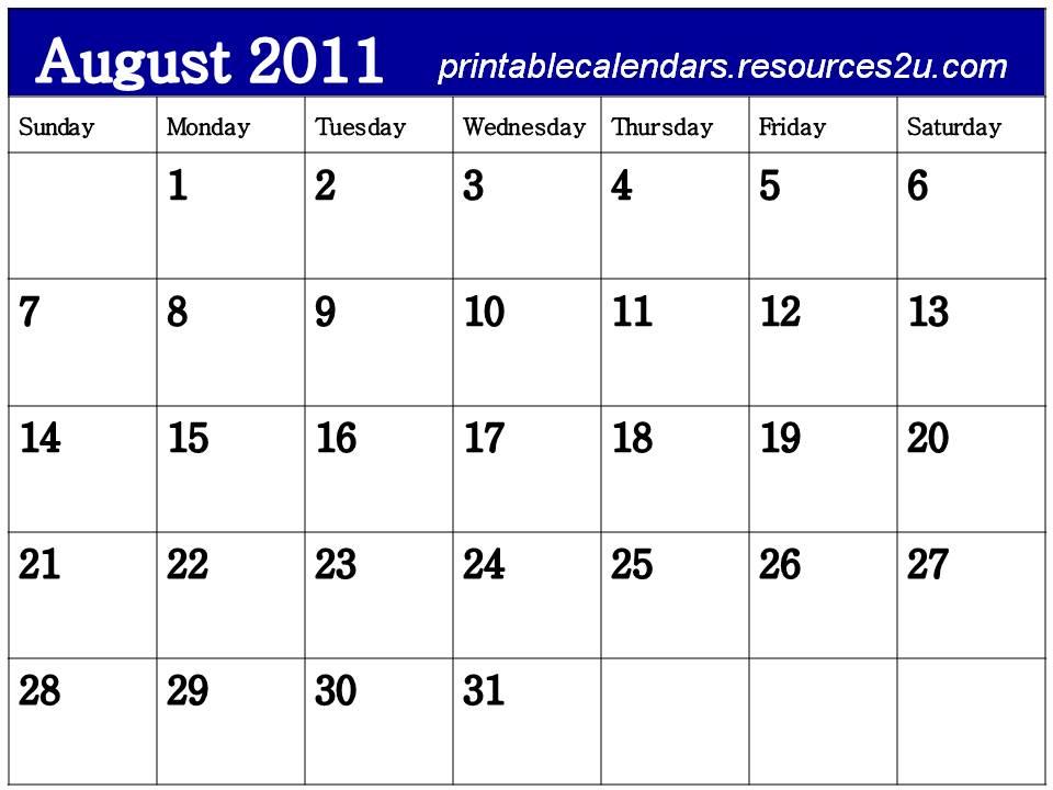 calendars 2011 august. Free Blank Planner August 2011