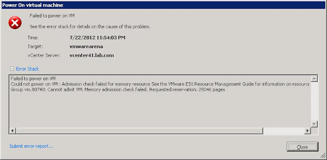 """Failed to power on VM """"Admission check failed for memory resource"""""""