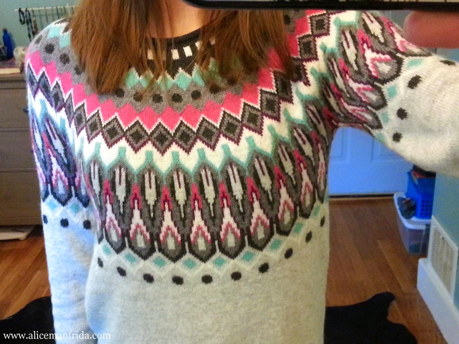 H&M, jacquard-knit sweater, ootd