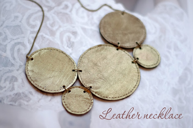 How to make a leather statement necklace. Step by step DIY tutorial created by Xenia Kuhn for lifestyle blog www.fashionrolla.com