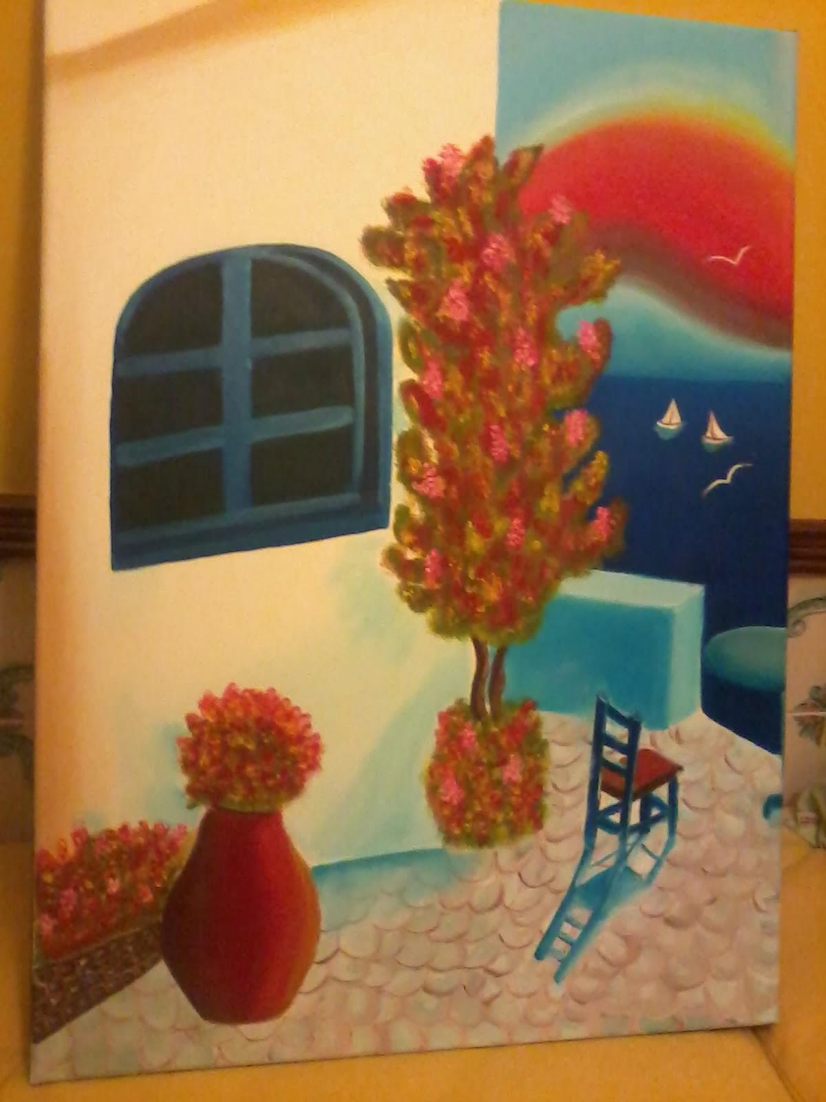 Quadro a óleo pintado pela minha filhota - Paisagem grega