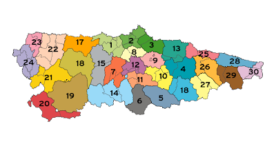 Asturias Mapa Ciudad de la Región