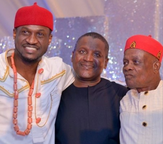 Peter and Dad with Dangote