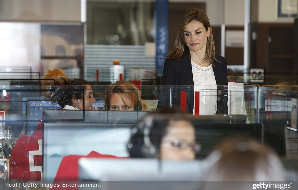 Queen Letizia Attends A Meeting With The Spanish Red Cross in Madrid