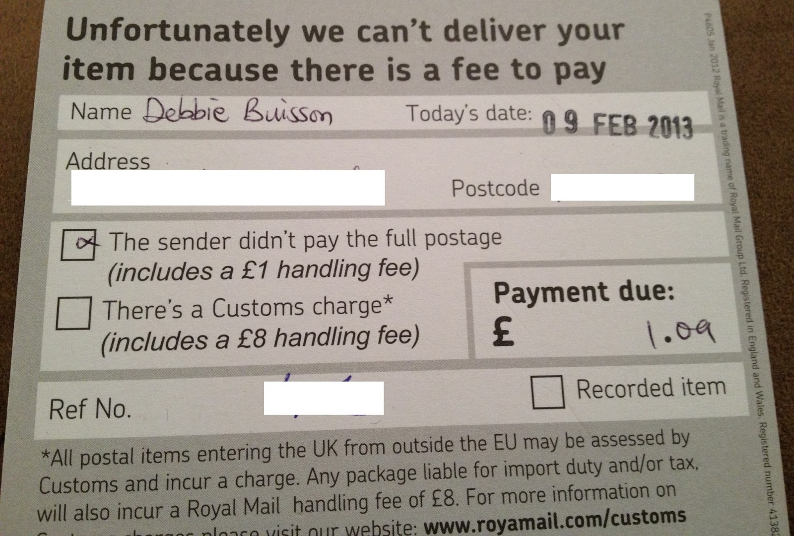 Royal Mail is introducing a new fee of £ for a letter with insufficient postage, and £2 where nothing has been paid. A flat fee of £3 will apply to a small parcel, with the new charges coming in on Monday. Under the current structure, the surcharge is £1, plus any remaining postage due.
