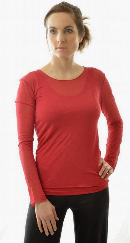 Alkena Langarmshirt aus Bio-Seide kirsch-rot