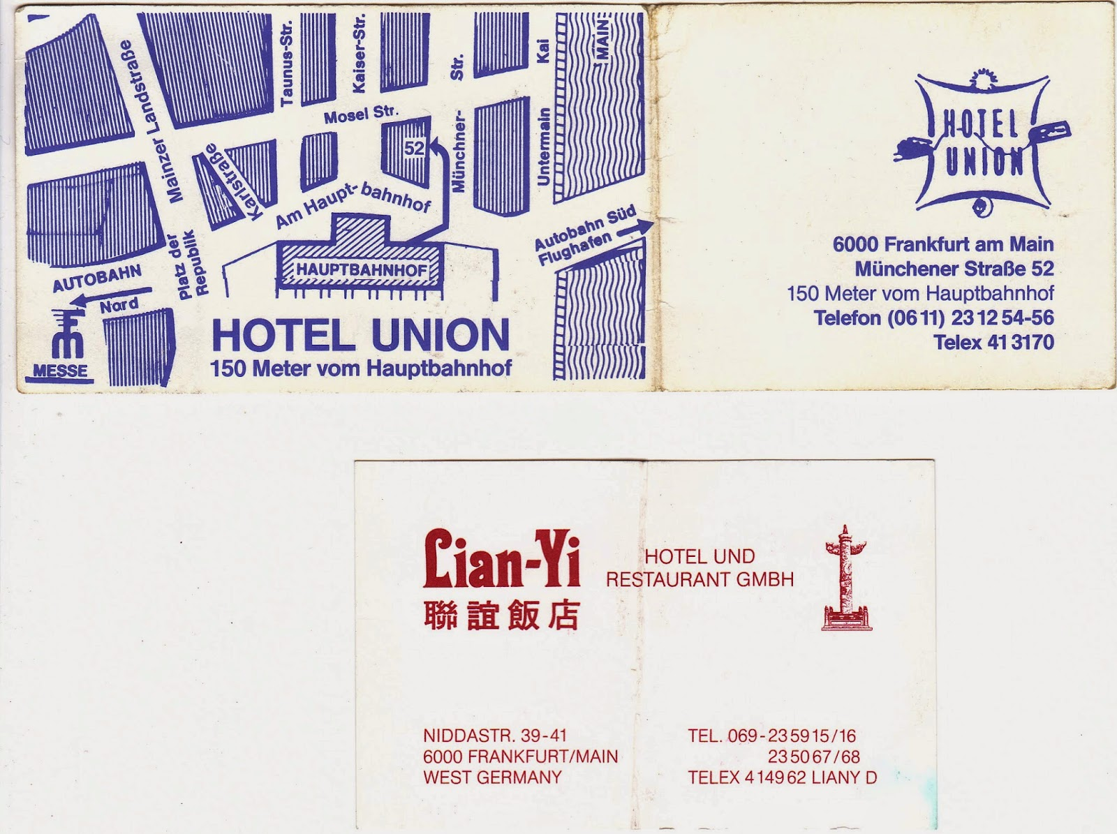 Pontificating some memories of germany photos materials 6b these are business cards from two hotels in frankfurt where a friend of mine was the manager he first managed the hotel union on mnchenerstrae near the reheart Images