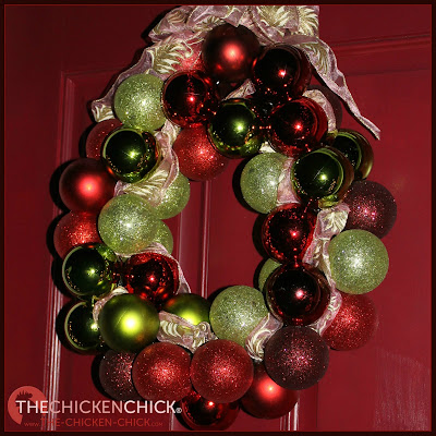 Dollar Store ornament wreath via The Chicken Chick®
