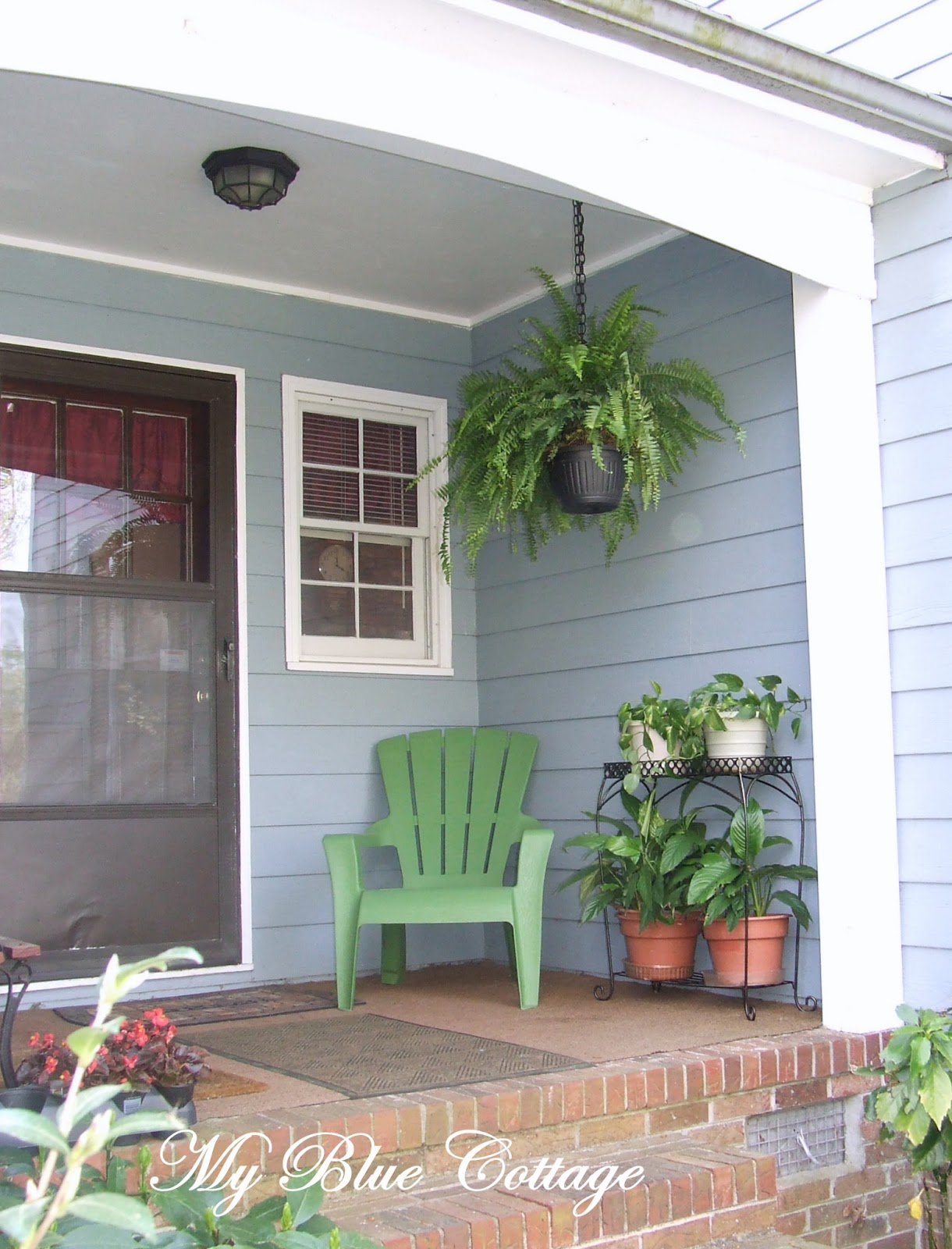 My blue cottage form follows function side porch revamp for Side porch
