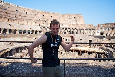 The Colosseum gladiator pose