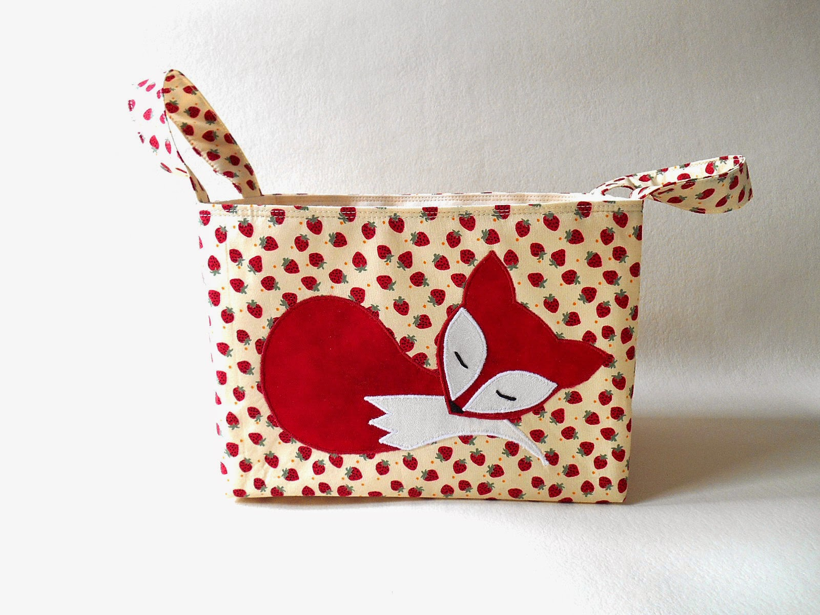 red fox diaper caddy strawberry fabric