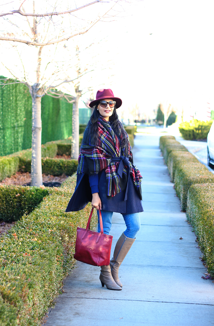 Blanket Scarf Styling, Ann Taylor Cape, Burgundy Wool Fedora, Fossil Bag, Blue Plaid Blanket Scarf