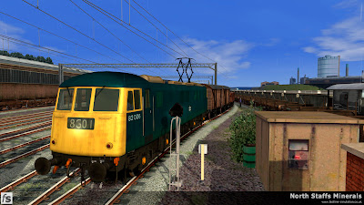 Fastline Simulation - North Staffs Minerals: Class 82 82006 is seen leaving Etruria Yard with 8G01.