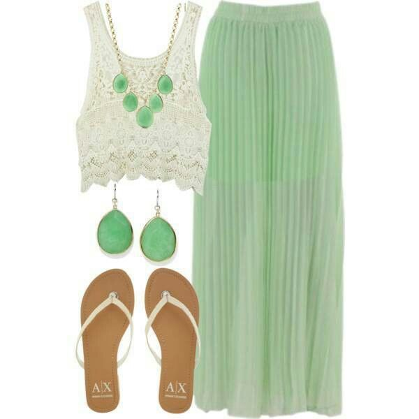 Green Maxi Skirt Outfit