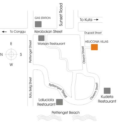Mapa hoteles en Seminyak