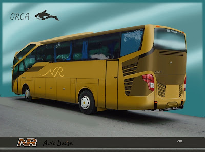 Design bus 3D Orca rear perspektif