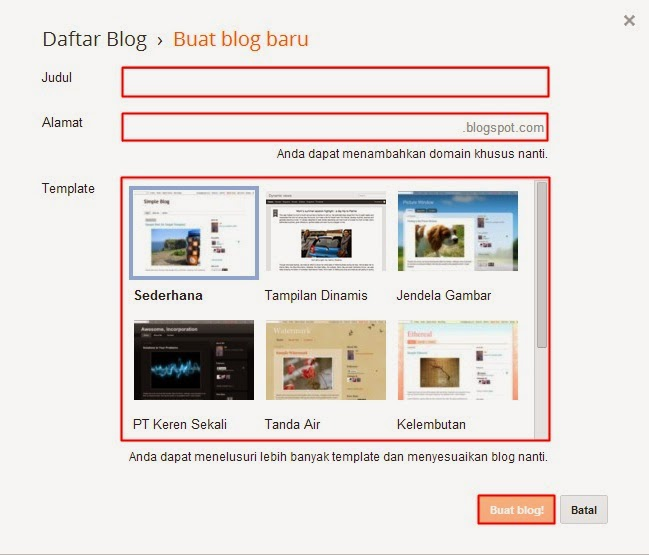 Formulir Pendaftaran Blogger