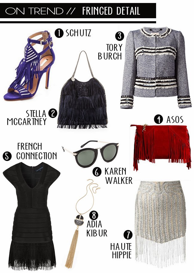 spring trend fringe, stella mccartney tote, tory burch jacket, asks clutch, karen walker sunglasses, haute hippie skirt, aria kibur jewelry