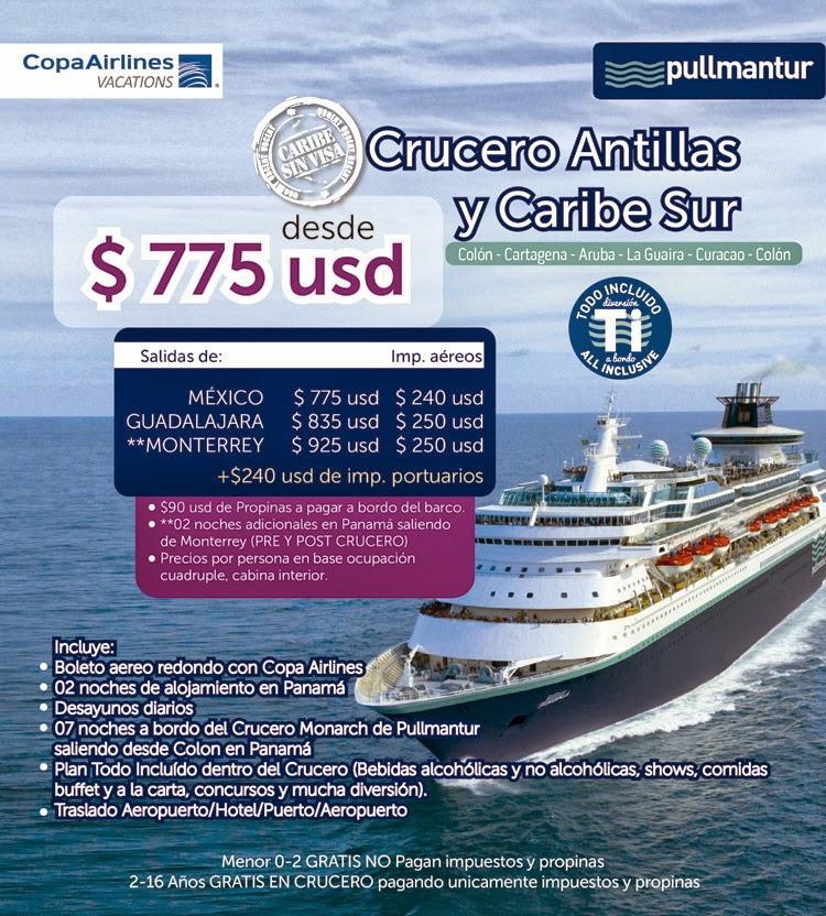Crucero sin visa antillas y caribe sur colombia