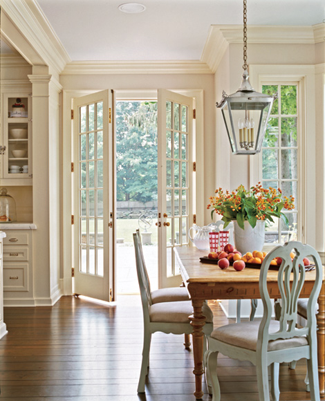 Choosing a hanging lantern pendant for the kitchen for Dining room ideas with french doors