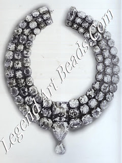 A diamond necklace assembled in 1865 by Khande Rao Gaekwar, Maharaja of Baroda, to showcase the Star of the South diamond (the top elongated cushion-shaped stone) and, beneath it, the English Dresden.