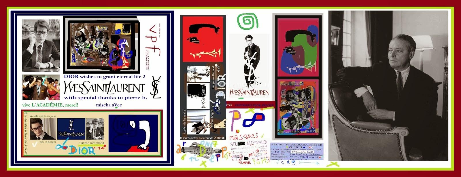 affiche pour le film YVES SAINT-LAURENT par mischa vetere en faveur de l´académie, LA FRANCE dior