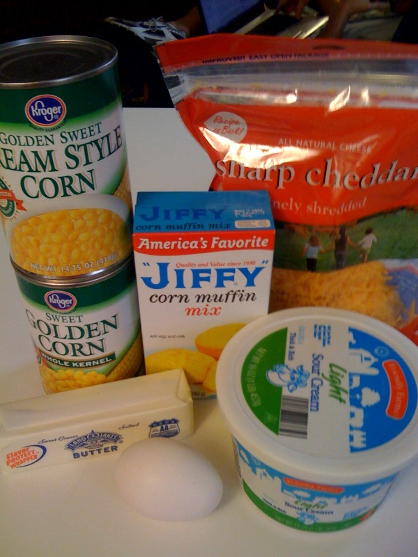 can cream corn 1 can niblets corn 1 jiffy cornbread mix 8 oz
