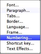 Format submenu: numbering