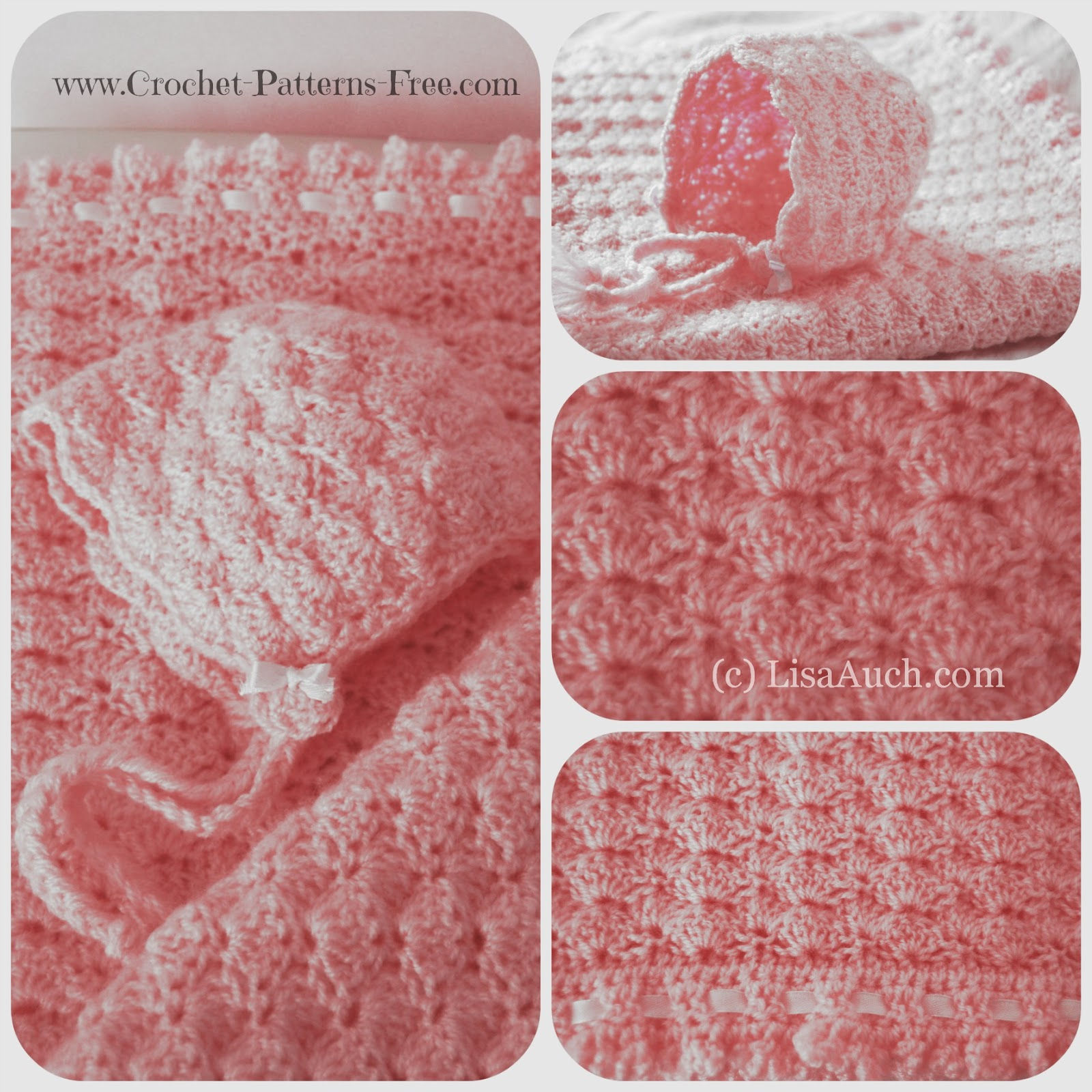 Free Crochet Baby Blanket Pattern in Shell Stitch -baby bonnet pattern-free crochet pattern