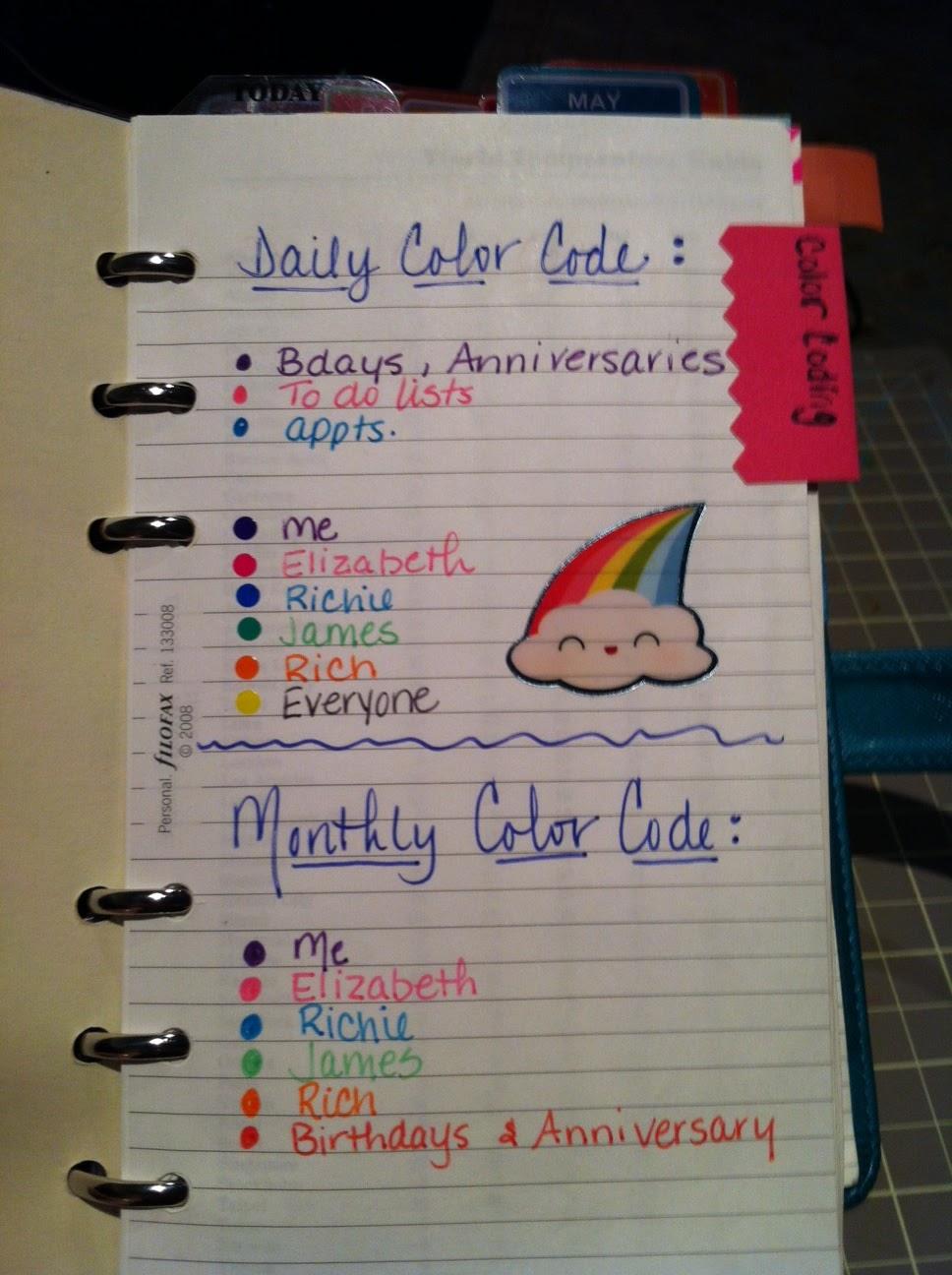Team filofax my color coding system for my filofax for Color coding planner