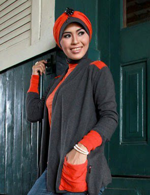 Zenitha Collection Blouse Muslimah Modern abu merah