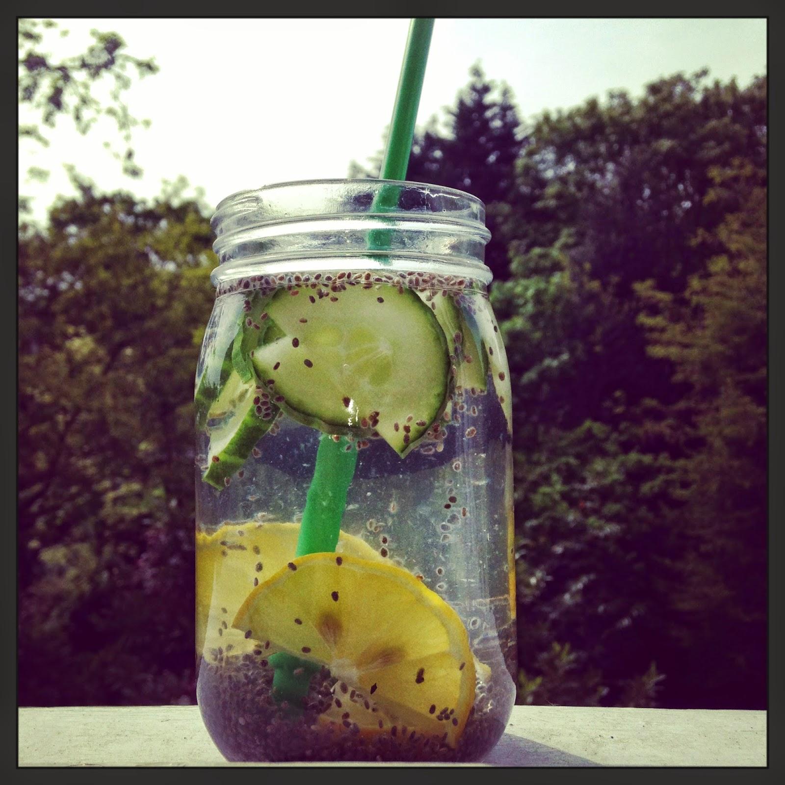 Lemon and cucumber chia fresca