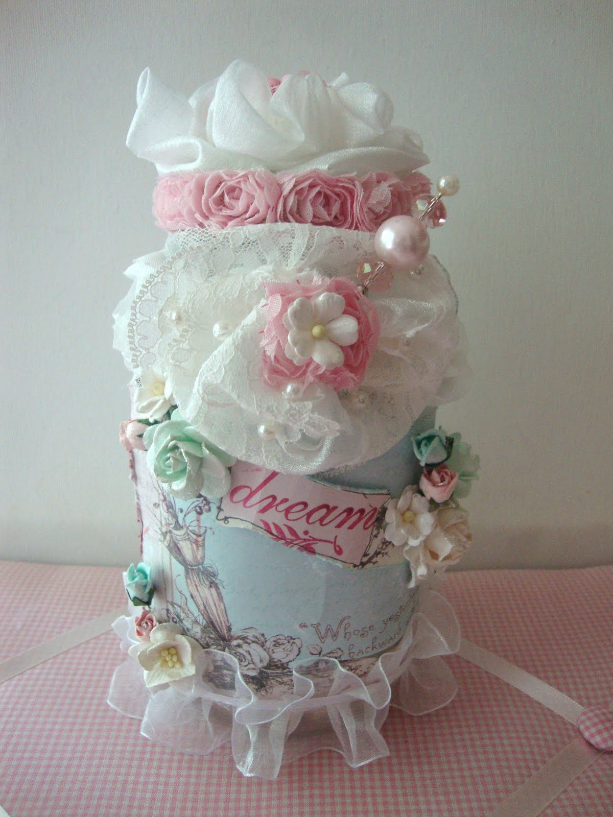 Shabbychicjcouture shabby chic altered glass jar using for Crafts using glass jars