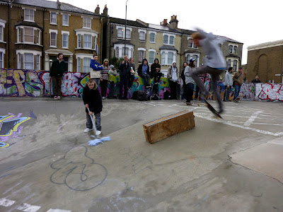 stockwell skateboarding in the wet
